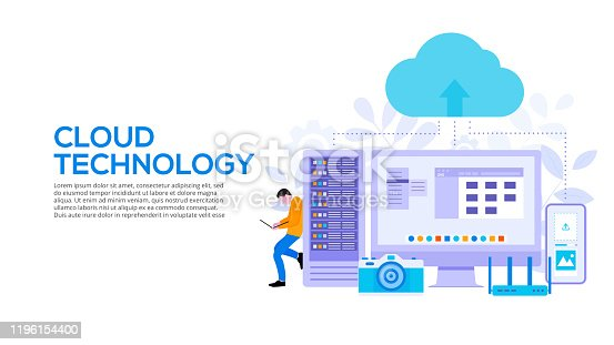 Cloud technologies design concept with server, smartphone and man. Flat vector illustration. Landing page template for web.