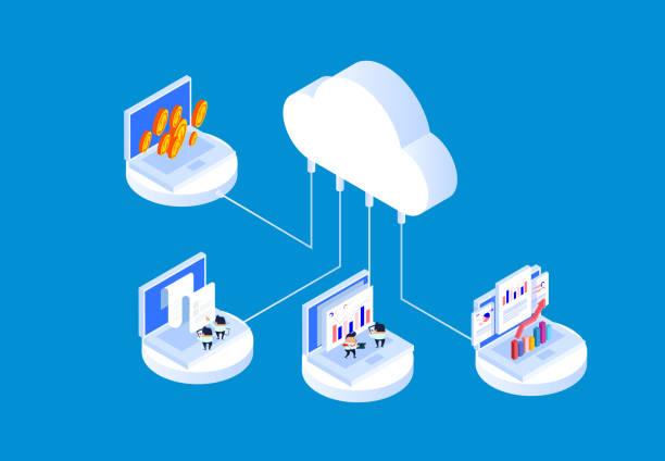stockillustraties, clipart, cartoons en iconen met cloud technologie en data-analyse technologie - cloud computing