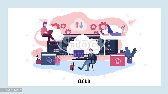 Cloud technology and data computing. Cloud storage service. Distributed business and developer team. Vector web site design template. Landing page website concept illustration.