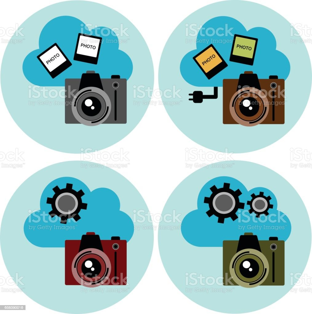 Cloud technology - camera and photo, vector icon set vector art illustration