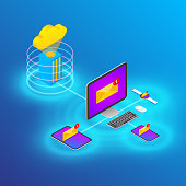 Cloud Technology Device and Email Sync, Isometric Style Vector Illustration.