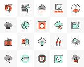 Flat line icons set of cloud computing, computer data technology. Unique color flat design pictogram with outline elements. Premium quality vector graphics concept for web, logo, branding, infographics.