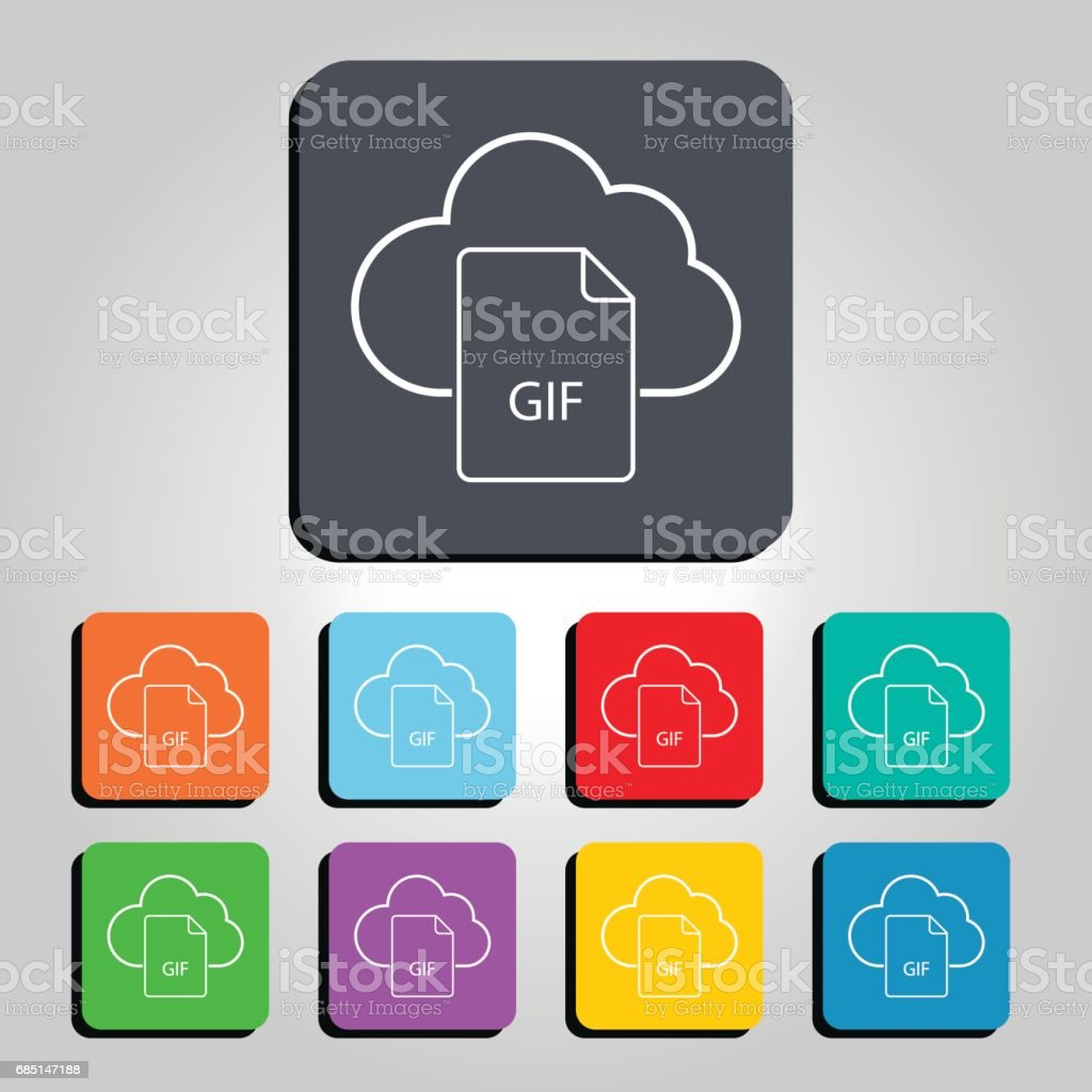 Cloud Technology GIF File Icon Vector Illustration royalty-free cloud technology gif file icon vector illustration stock vector art & more images of 2017
