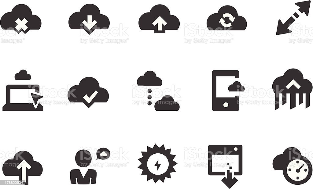 Cloud Technology Icons royalty-free stock vector art