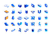 Cloud Technology Isometric Icon Set and Three Dimensional Design