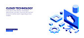 Cloud Technology Isometric Web Banner Concept and Three Dimensional Design
