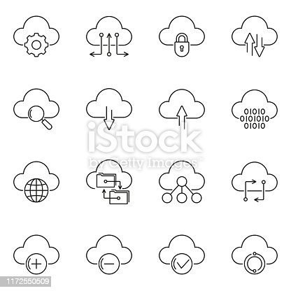 Cloud technology line icon set. Upload and Download, Dig data, Sync concept. Vector illustration.