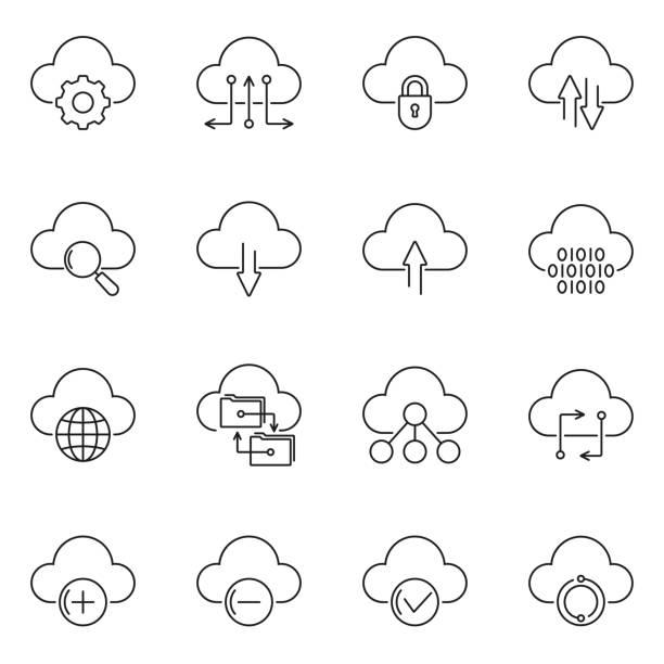 stockillustraties, clipart, cartoons en iconen met cloud technologie lijn icon set. uploaden en downloaden, graven van gegevens, sync concept. vector illustratie. - cloud computing