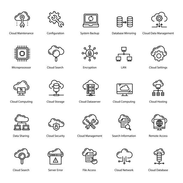 illustrazioni stock, clip art, cartoni animati e icone di tendenza di cloud technology line icons pack - uniforme