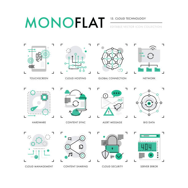 Cloud Technology Monoflat Icons vector art illustration