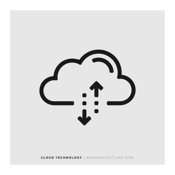 bildbanksillustrationer, clip art samt tecknat material och ikoner med cloud-teknik rundad linje-ikonen - moln