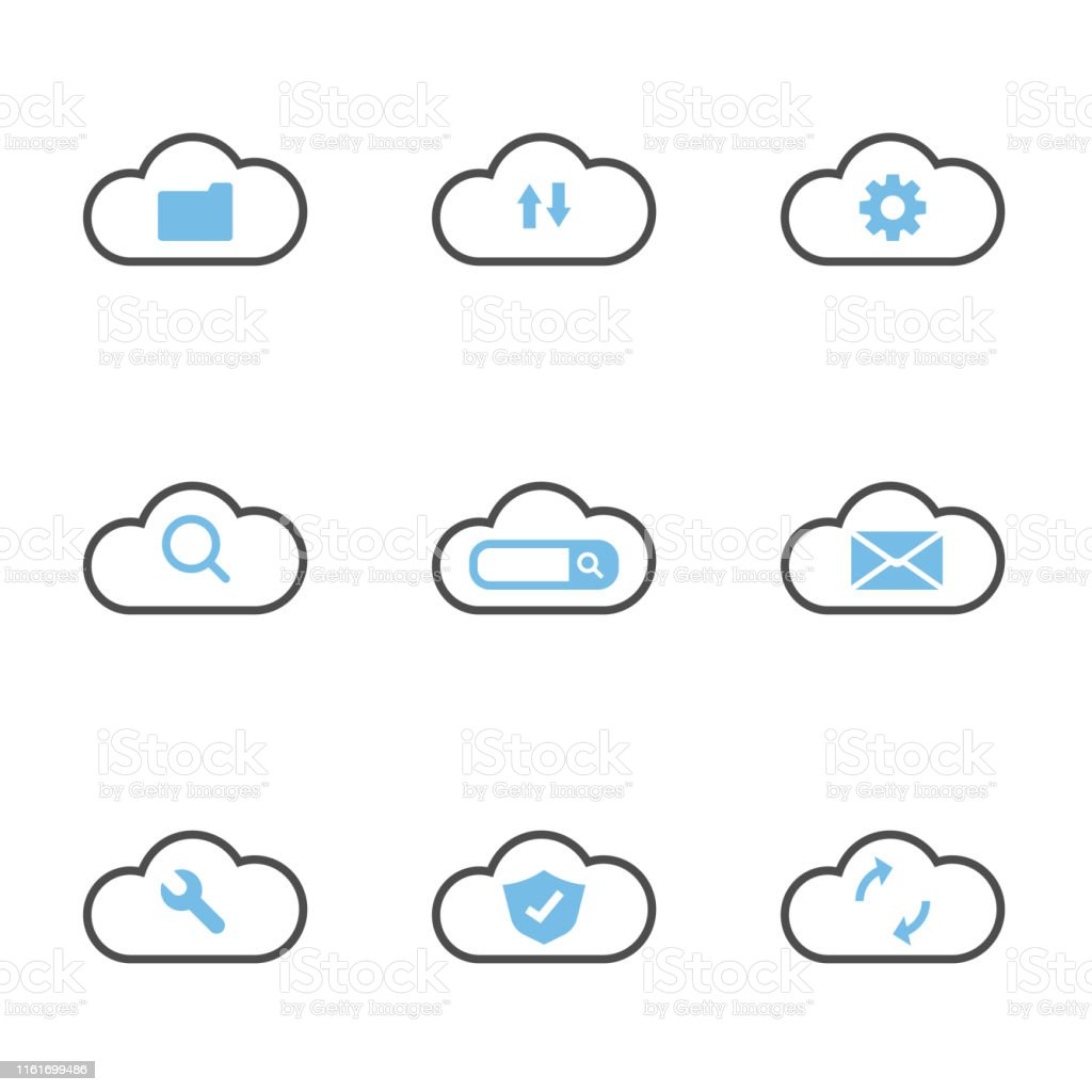 set of cloud technology system simple flat icons design vector...