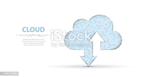 Polygonal wireframe cloud storage sign with two arrows up and down on dark blue with dots, stars. Cloud computing, big data Concept illustration or background