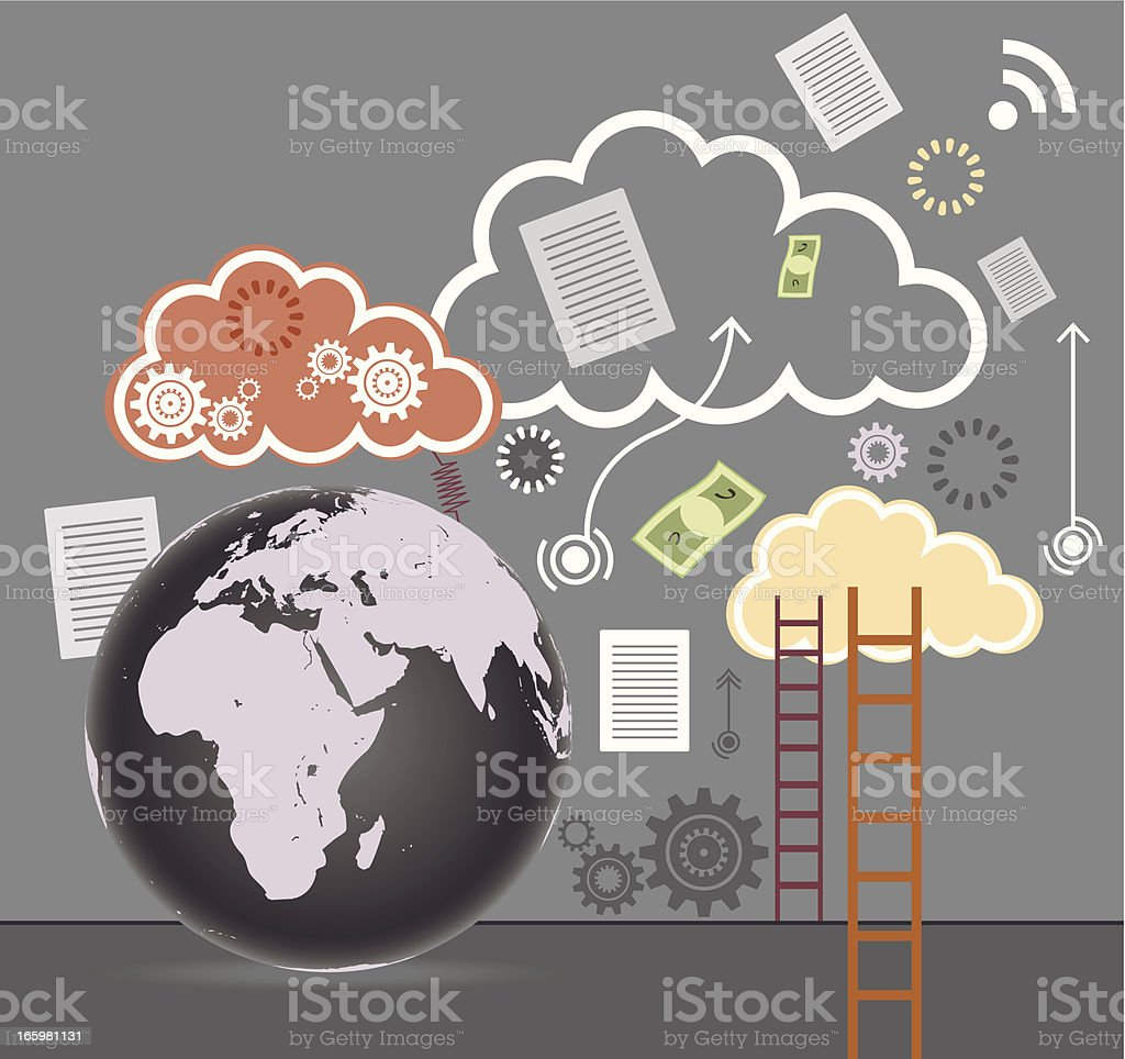 Cloud Technology with Globe royalty-free cloud technology with globe stock vector art & more images of accessibility