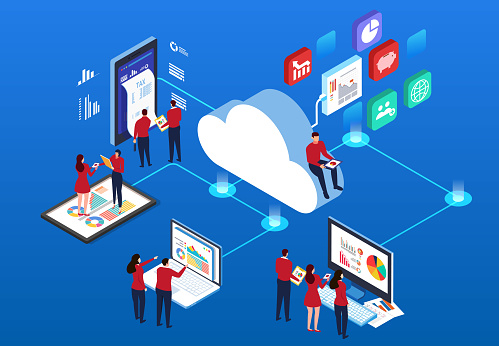 Cloud computing stock illustrations