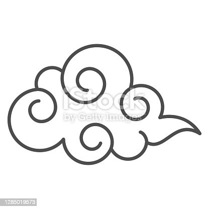 istock Cloud thin line icon, weather forecast concept, overcast sign on white background, cloudy sky icon in outline style for mobile concept and web design. Vector graphics. 1285019573