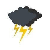Cloud thunder flash icon. Flat illustration of cloud thunder flash vector icon isolated on white background