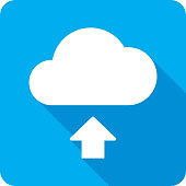 Vector illustration of a blue cloud upload icon in flat style.