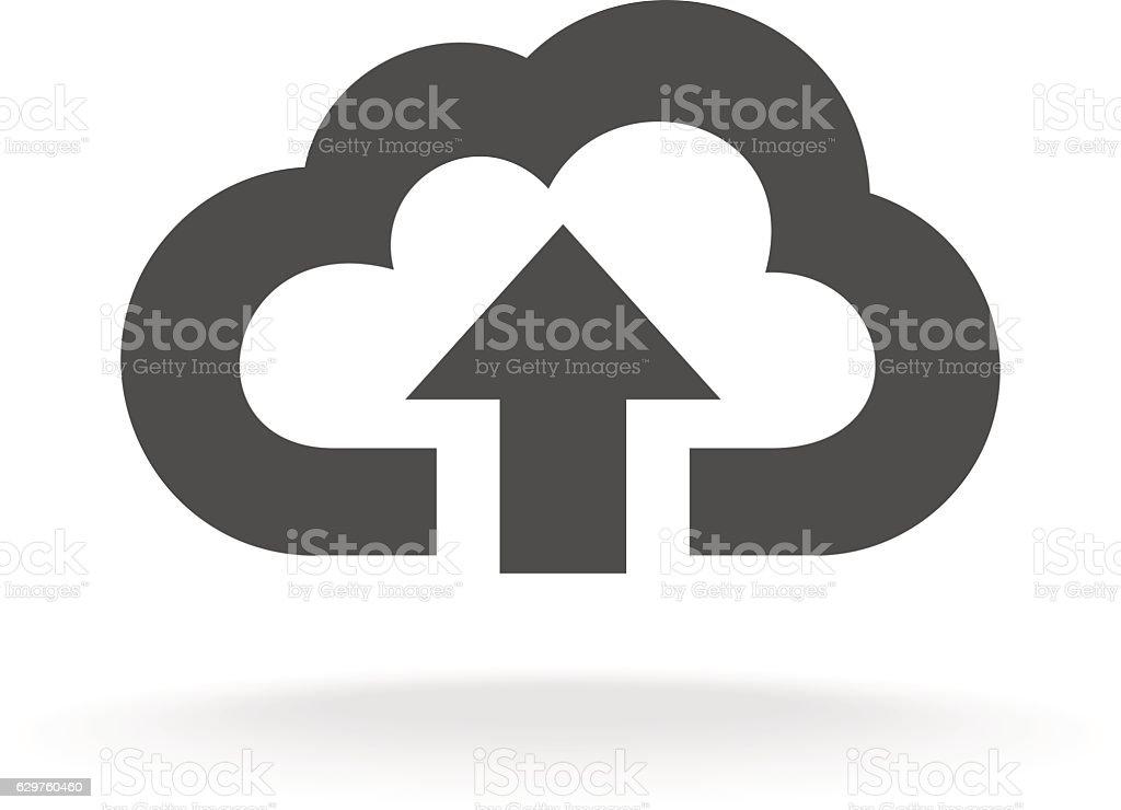 Cloud upload symbol. Black wide outline style icon vector art illustration