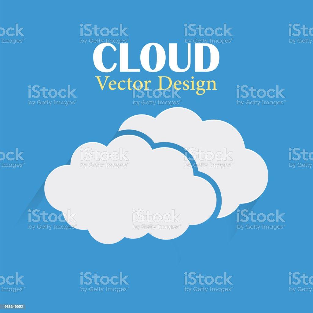クラウド ベクター デザイン テンプレート 2 つの雲暗い青色の背景