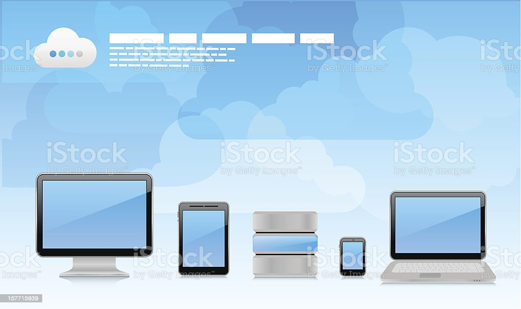 Cloud wallpaper behind different electronic devices royalty-free stock vector art