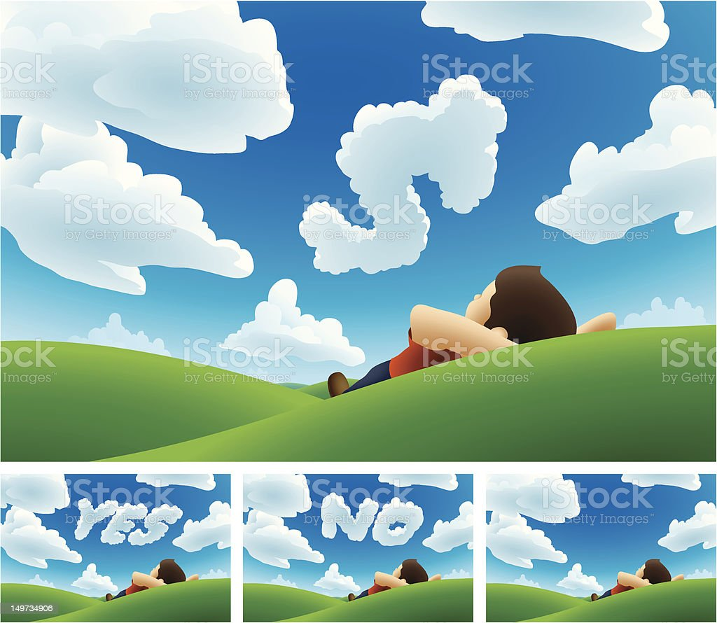 Cloud Watching Message vector art illustration