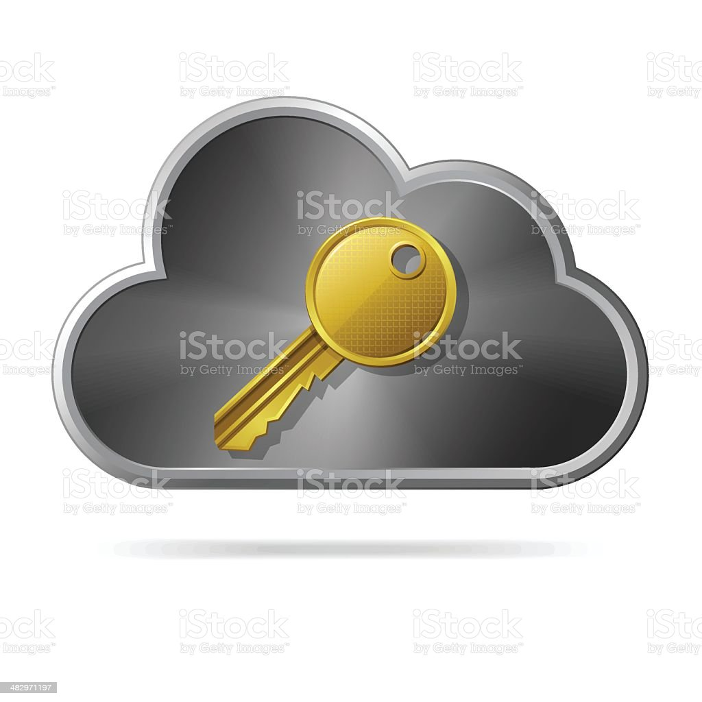 Cloud  with key royalty-free stock vector art