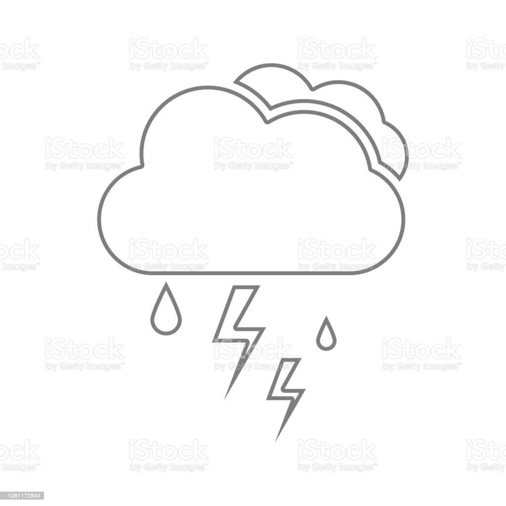 Cloud With Rain And Lightning Bolt Icon Element Of Cyber Security For Mobile Concept And Web Apps Icon Thin Line Icon For Website Design And Development App Development Stock Illustration Download