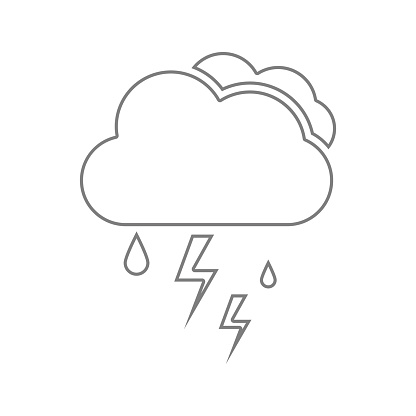 Cloud With Rain And Lightning Bolt Icon Element Of Cyber Security For Mobile Concept And Web