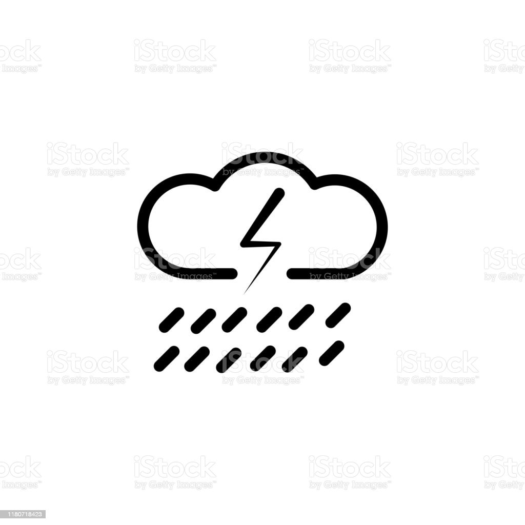 Cloud With Rain And Lightning Bolt Vector Sketch Icon Isolated On Background Hand Drawn Cloud With Rain And Lightning Icon Cloud With Rain And Lightning Sketch Icon For Infographic Website Or App