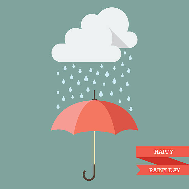 illustrations, cliparts, dessins animés et icônes de cloud with rain drop on umbrella - pluie