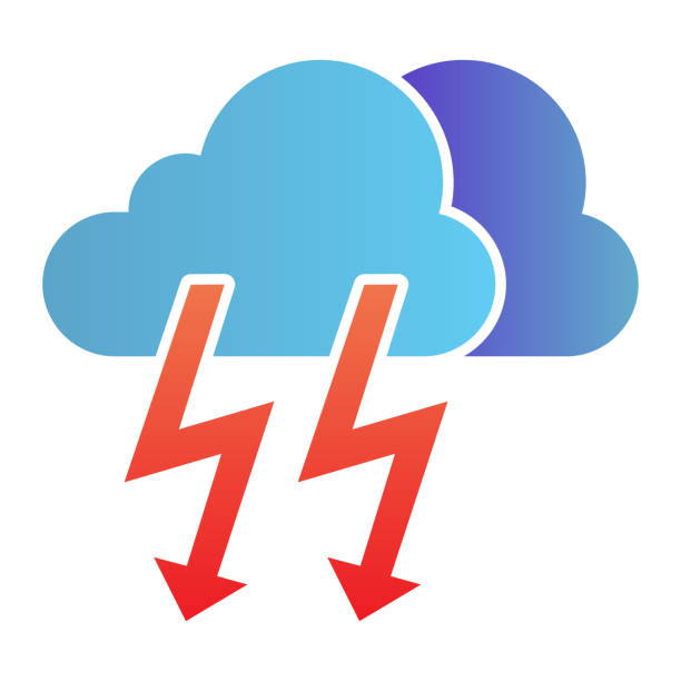 Cloud with thunder flat icon. Lightning with cloud color icons in trendy flat style. Rainy climate gradient style design, designed for web and app. Eps 10. Cloud with thunder flat icon. Lightning with cloud color icons in trendy flat style. Rainy climate gradient style design, designed for web and app. Eps 10 hailstorm stock illustrations