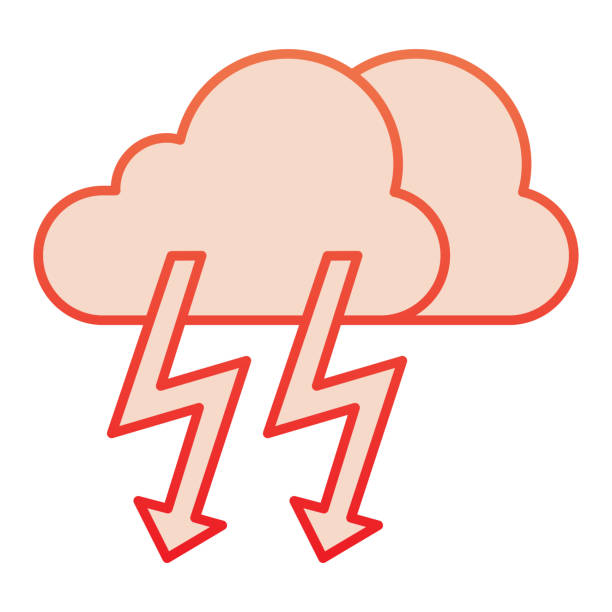Cloud with thunder flat icon. Lightning with cloud red icons in trendy flat style. Rainy climate gradient style design, designed for web and app. Eps 10. Cloud with thunder flat icon. Lightning with cloud red icons in trendy flat style. Rainy climate gradient style design, designed for web and app. Eps 10 hailstorm stock illustrations