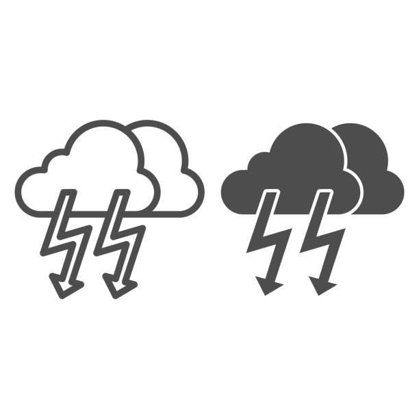 Cloud with thunder line and glyph icon. Lightning with cloud vector illustration isolated on white. Rainy climate outline style design, designed for web and app. Eps 10. Cloud with thunder line and glyph icon. Lightning with cloud vector illustration isolated on white. Rainy climate outline style design, designed for web and app. Eps 10 hailstorm stock illustrations