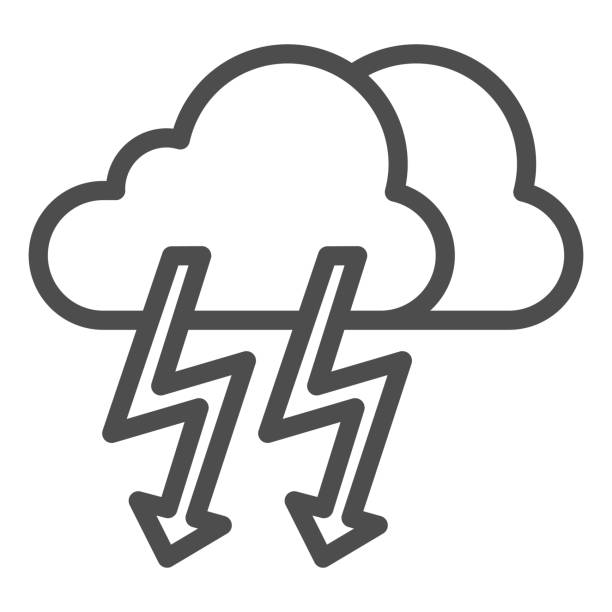 Cloud with thunder line icon. Lightning with cloud vector illustration isolated on white. Rainy climate outline style design, designed for web and app. Eps 10. Cloud with thunder line icon. Lightning with cloud vector illustration isolated on white. Rainy climate outline style design, designed for web and app. Eps 10 hailstorm stock illustrations