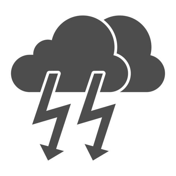 Cloud with thunder solid icon. Lightning with cloud vector illustration isolated on white. Rainy climate glyph style design, designed for web and app. Eps 10. Cloud with thunder solid icon. Lightning with cloud vector illustration isolated on white. Rainy climate glyph style design, designed for web and app. Eps 10 hailstorm stock illustrations
