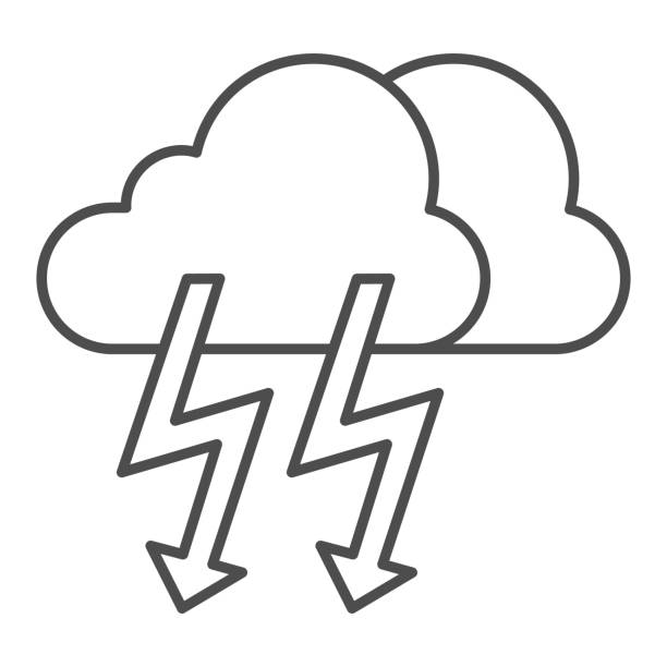 Cloud with thunder thin line icon. Lightning with cloud vector illustration isolated on white. Rainy climate outline style design, designed for web and app. Eps 10. Cloud with thunder thin line icon. Lightning with cloud vector illustration isolated on white. Rainy climate outline style design, designed for web and app. Eps 10 hailstorm stock illustrations