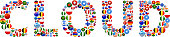 Cloud World Flags Vector Buttons. The word is composed of various flag buttons. It represents globalization and cooperation between nations. The flag buttons fill in the letters and form a seamless pattern. Flags include United States, Great Britain, Germany, Canada, European Union, Russia, Switzerland, Israel, China and many more.