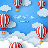istock Clouds and hot air balloons 1220573181