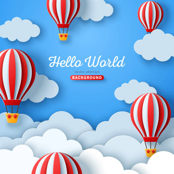 Clouds and hot air balloons Beautiful fluffy clouds on blue sky background with hot air balloons. Vector illustration. Paper cut style. Place for text. Travel and adventure concept hot air balloon stock illustrations