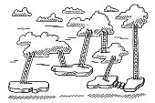 Clouds And Ladders Game Background Drawing
