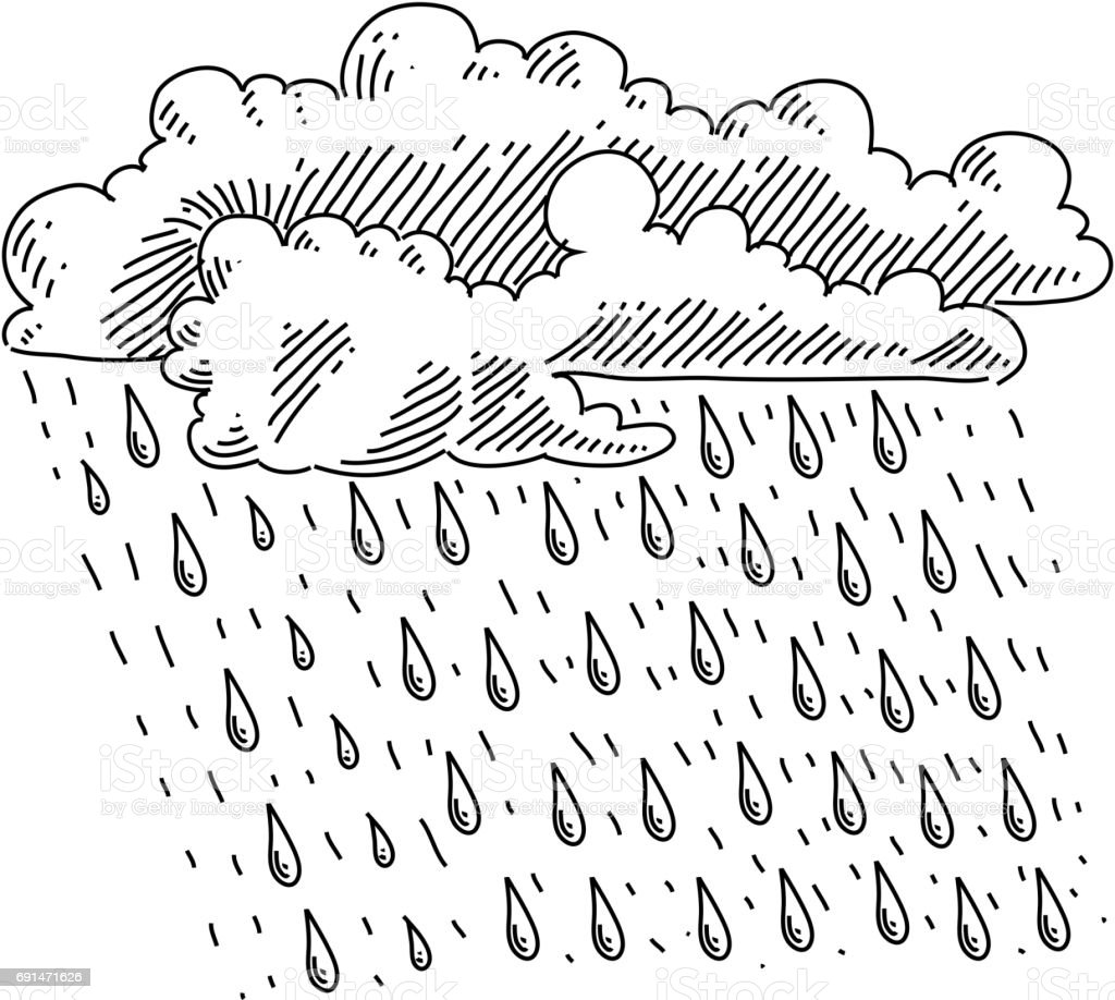 Clouds and rain drawing stock illustration download image