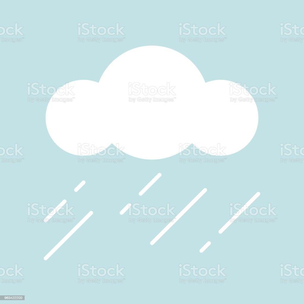 Clouds and rain simple icon in flat design - Grafika wektorowa royalty-free (Bez ludzi)