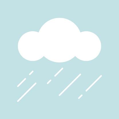 Clouds And Rain Simple Icon In Flat Design - Stockowe grafiki wektorowe i więcej obrazów Bez ludzi