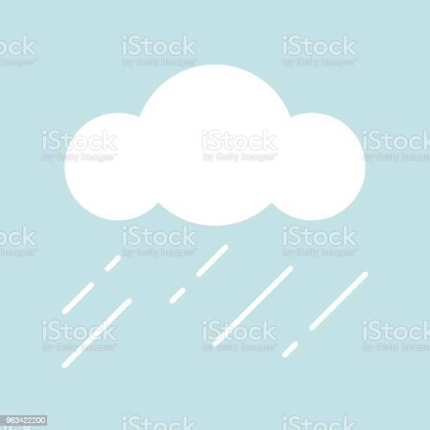 Chmury I Deszcz Prosta Ikona W Płaskiej Konstrukcji - Stockowe grafiki wektorowe i więcej obrazów Bez ludzi