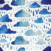 Seamless pattern with clouds and rain. Watercolor effect. Vector illustration.