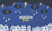 Clouds and raindrops hang on a rope over houses in paper cut style. Clouds thunderstorm and rain in blue night sky and city buildings. Vector stormy weather concept. Monsoon sale banner template.