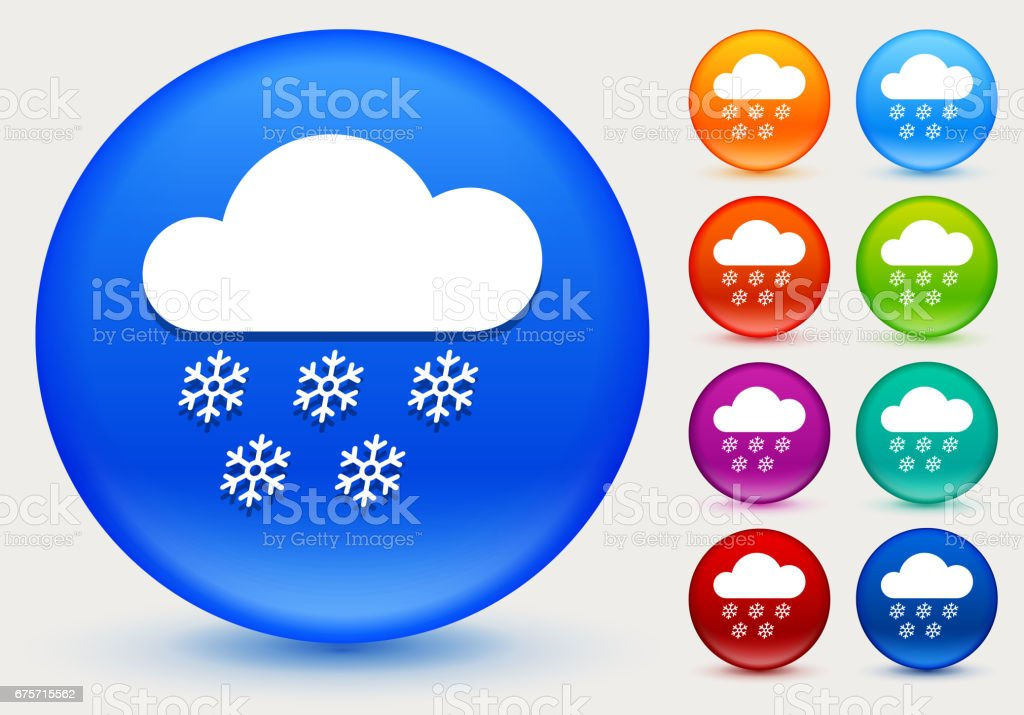 Clouds and Snow Icon on Shiny Color Circle Buttons royalty-free clouds and snow icon on shiny color circle buttons stock vector art & more images of circle