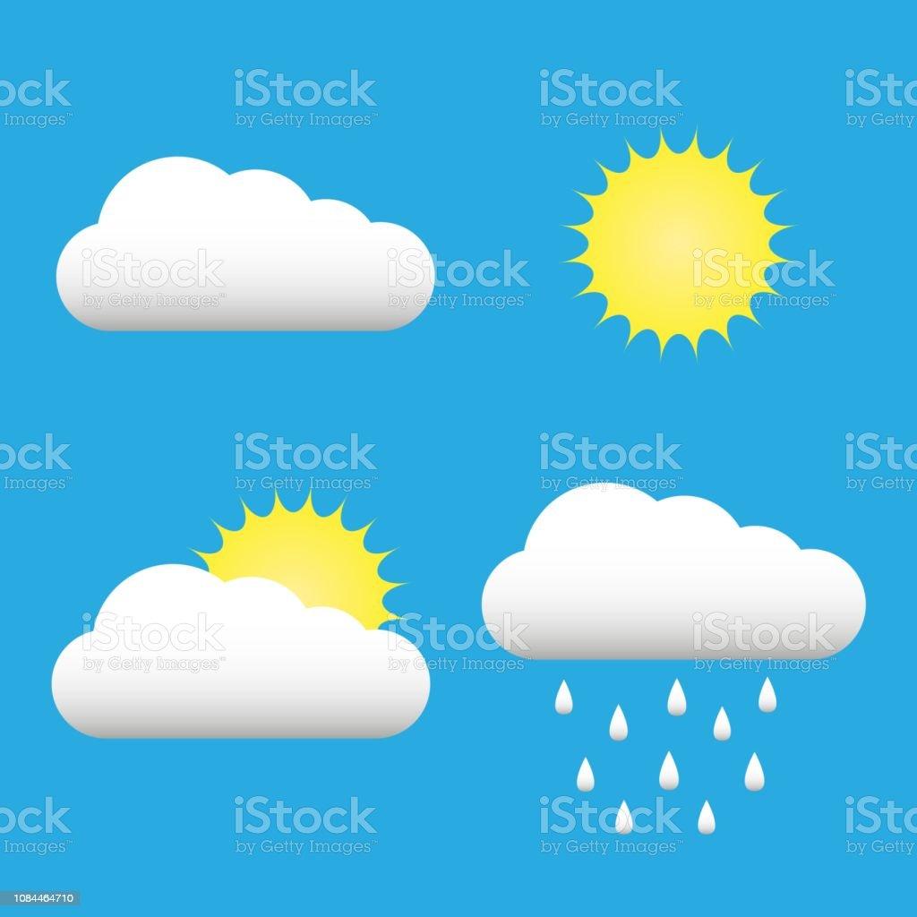 Clouds and sun icons set. Cloud, sun, cloud rain symbols on blue sky...