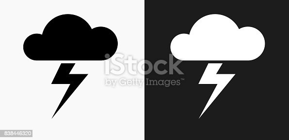 istock Clouds and Thunderstorm Icon on Black and White Vector Backgrounds 838446320
